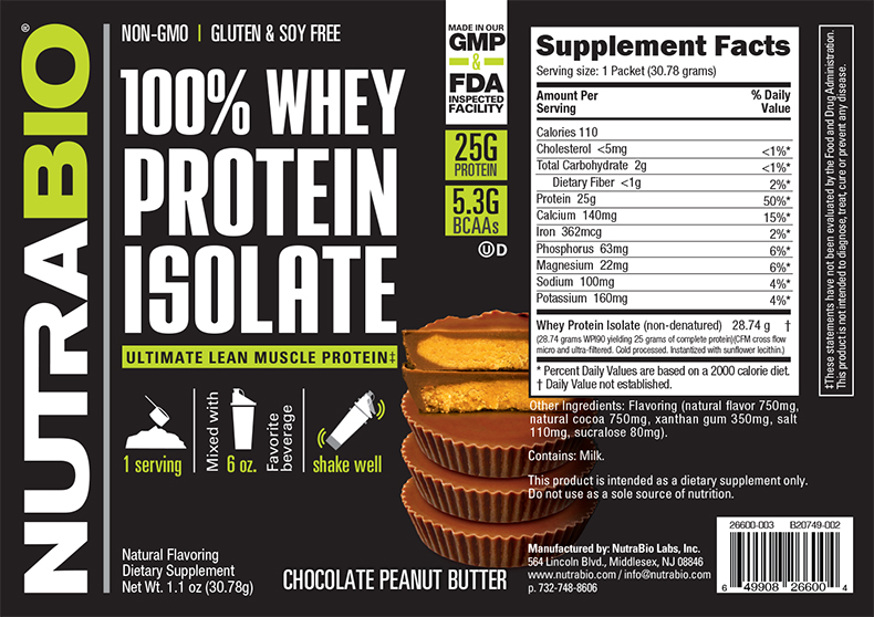 Label Image for NutraBio Whey Protein Isolate - To-Go Pack (Chocolate Peanut Butter)