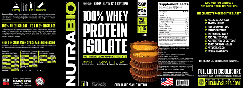 Label Image for NutraBio Whey Protein Isolate - 5 Pounds
