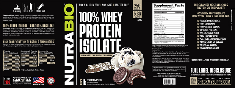 Label Image for Whey Protein Isolate - 5 Pounds