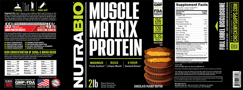 Label Image for NutraBio Muscle Matrix - 2 Pounds