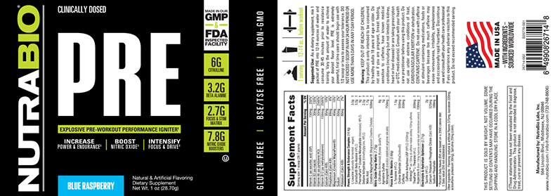 Label Image for NutraBio PRE Workout V5.0 - To-Go Pack (Blue Raspberry)