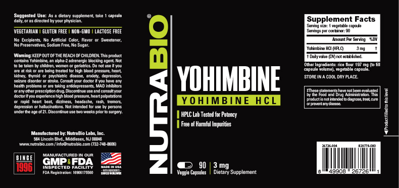 Label Image for NutraBio Yohimbine HCL (3mg) - 90 Vegetable Capsules
