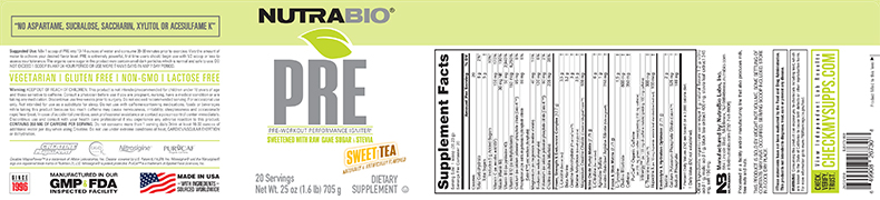 Label Image for NutraBio PRE Workout V5 Natural