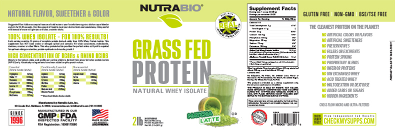 Label Image for NutraBio Grass Fed Whey Protein Isolate - 2 lb