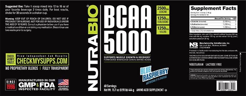 Label Image for NutraBio BCAA 5000 Powder - 60 Servings