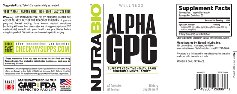 Label Image for NutraBio Alpha GPC - 60 Capsules