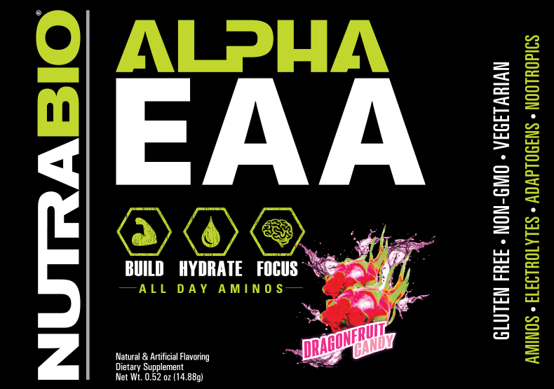 Label Image for NutraBio Alpha EAA - To-Go Pack (Dragon Fruit Candy)