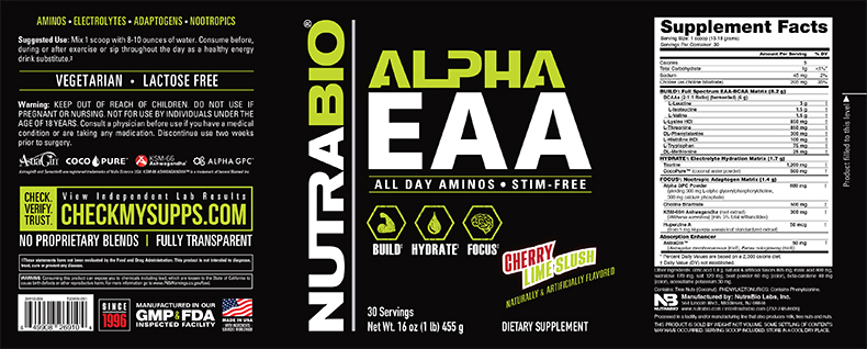 Label Image for NutraBio Alpha EAA - 30 Servings