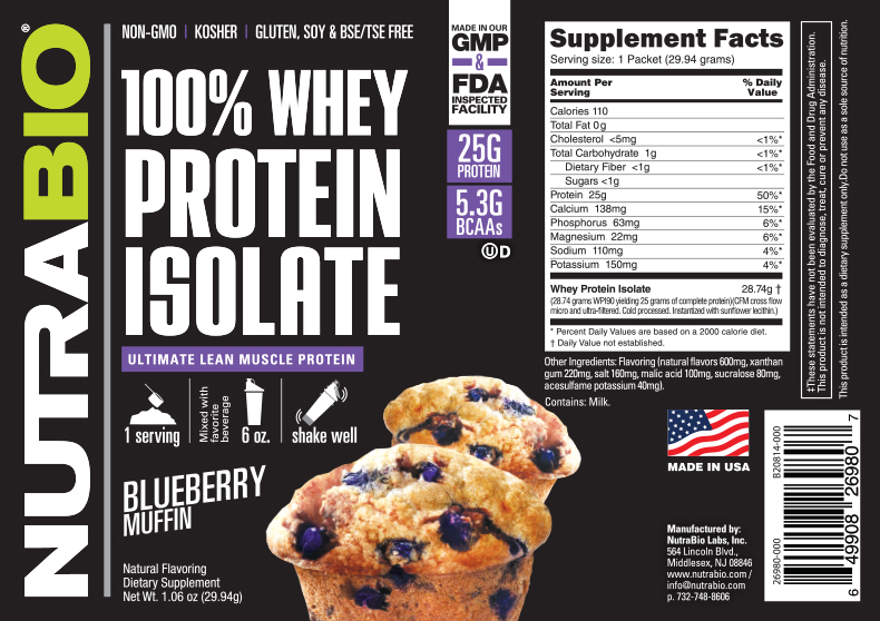 Label Image for NutraBio Whey Protein Isolate - To-Go Pack (Blueberry Muffin)