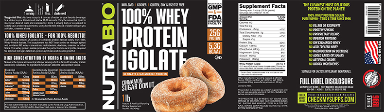 Label Image for NutraBio Whey Protein Isolate - 1 Pounds