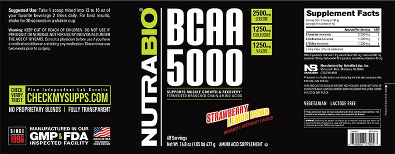 Label Image for NutraBio BCAA 5000 Powder