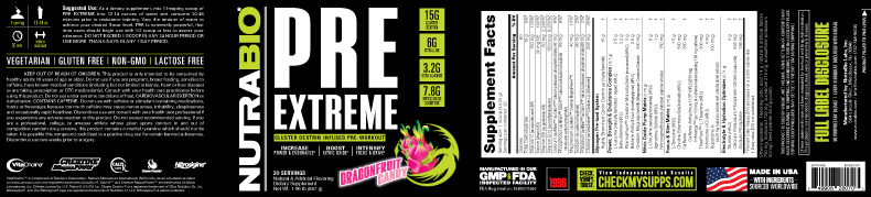Label Image for NutraBio PRE Extreme V5