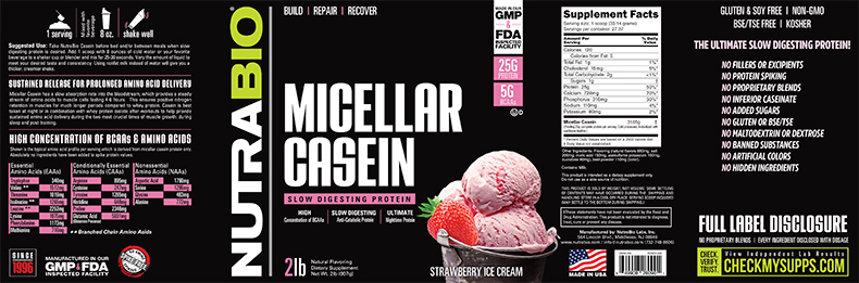 Label Image for NutraBio Micellar Casein - 2 Pounds