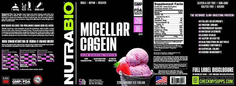 Label Image for NutraBio Micellar Casein - 5 Pounds