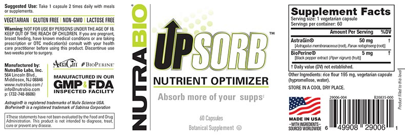 Label Image for NutraBio UpSorb - 60 Capsules