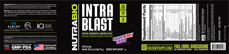 Label Image for NutraBio Intra Blast