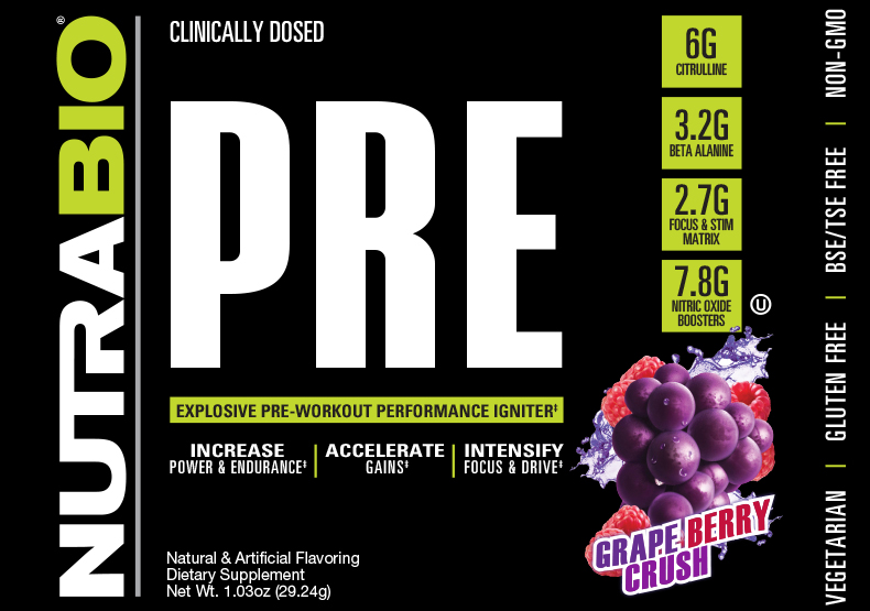 Label Image for NutraBio PRE Workout V5 - To-Go Pack (Grape Berry Crush)
