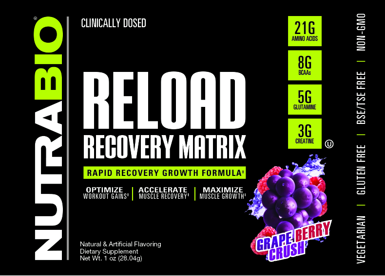 Label Image for NutraBio RELOAD V5 - To-Go Pack (Grape Berry Crush)
