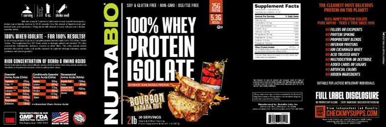 Label Image for NutraBio Whey Protein Isolate - 2 Pounds