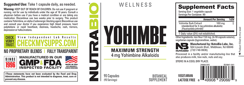 Label Image for NutraBio Yohimbe (4mg) - 90 Vegetable Capsules