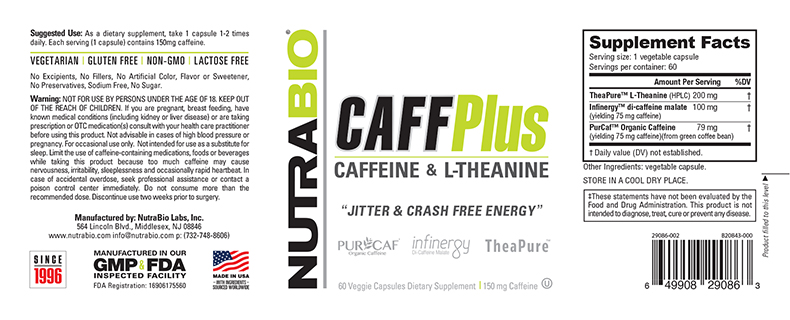 Label Image for NutraBio CaffPlus - 60 Vegetable Capsules