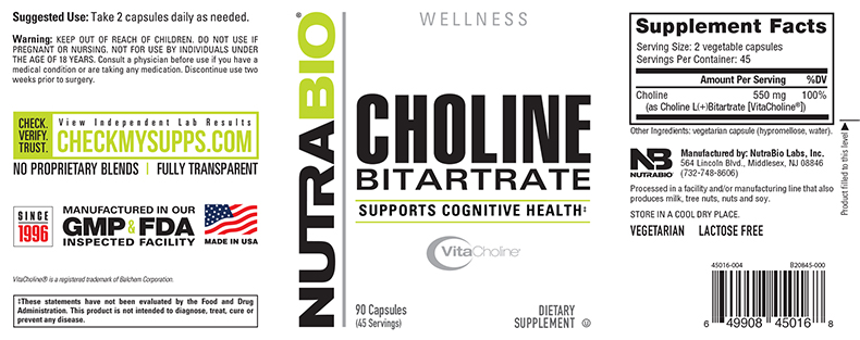 Label Image for NutraBio Choline Bitartrate - 90 Vegetable Capsules