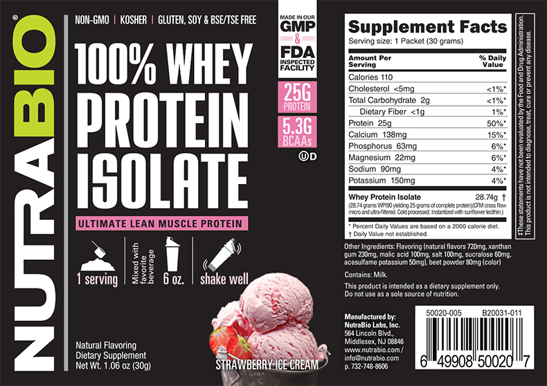 Label Image for NutraBio Whey Protein Isolate - To-Go Pack (Strawberry Ice Cream)