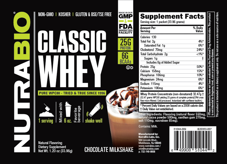 Label Image for NutraBio Classic Whey Protein - To-Go Pack (Chocolate Milkshake)