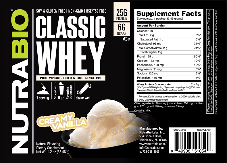 Label Image for NutraBio Classic Whey Protein - To-Go Pack (Vanilla)