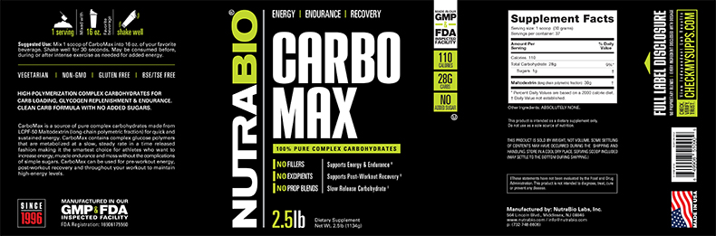 Label Image for CarboMax Maltodextrin -  2.5 lbs