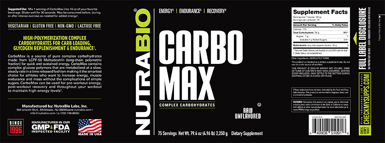 Label Image for NutraBio CarboMax Maltodextrin - 5 lb