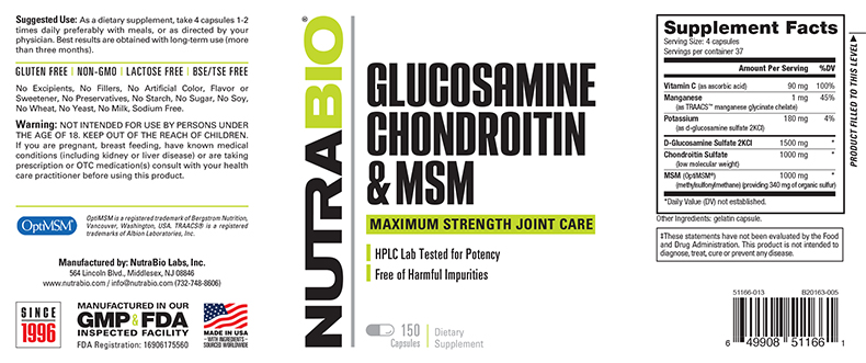 Label Image for NutraBio Glucosamine Chondroitin OptiMSM - 150 Capsules