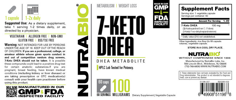 Label Image for NutraBio 7-KETO DHEA (100mg) - 60 Vegetable Capsules