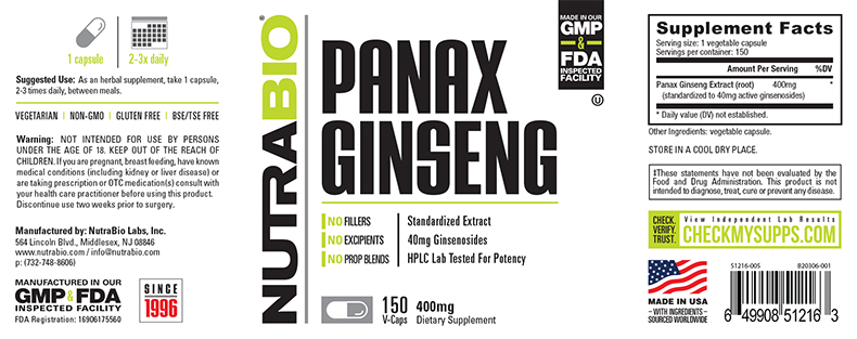 Label Image for NutraBio Panax Ginseng Extract (400 mg) - 150 Vegetable Capsules