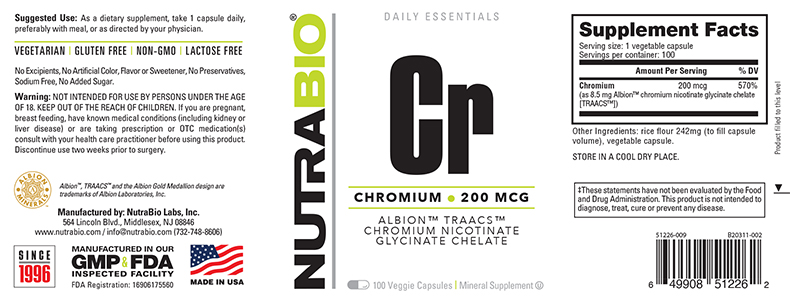 Label Image for NutraBio Chromium Chelate GTF (200mcg) - 120 Vegetable Capsules