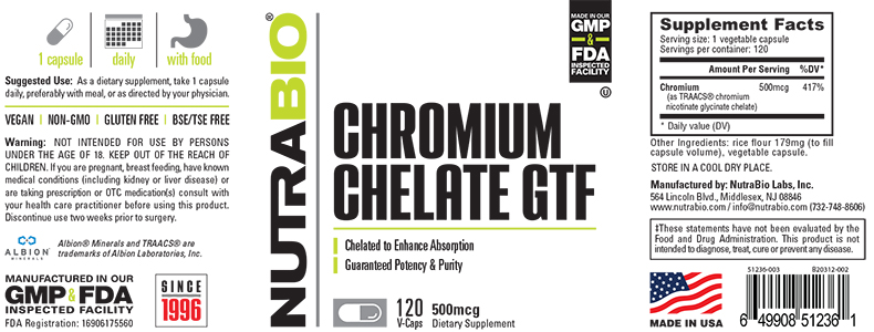 Label Image for NutraBio Chromium Chelate GTF (500mcg) - 120 Vegetable Capsules