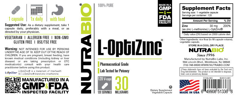 Label Image for L-OptiZinc (30mg) - 120 Vegetable Capsules