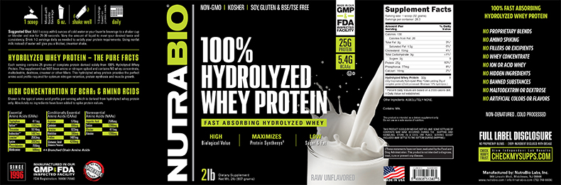 Label Image for NutraBio Hydrolyzed Whey Protein - 2 lb