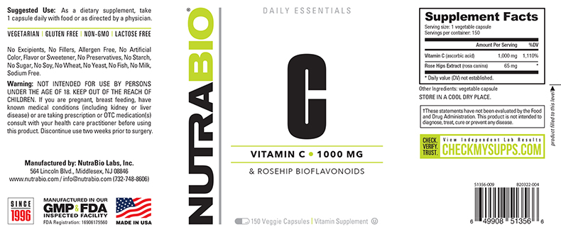 Label Image for NutraBio Vitamin C 1000mg with Rose Hips - 150 Vegetable Capsules