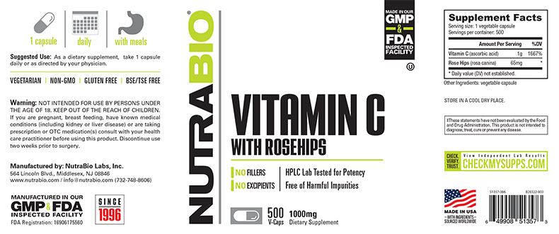 Label Image for NutraBio Vitamin C 1000mg with Rose Hips - 500 Vegetable Capsules