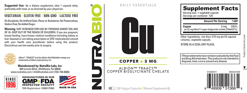 Label Image for NutraBio Copper Chelate (3 mg) - 120 Vegetable Capsules