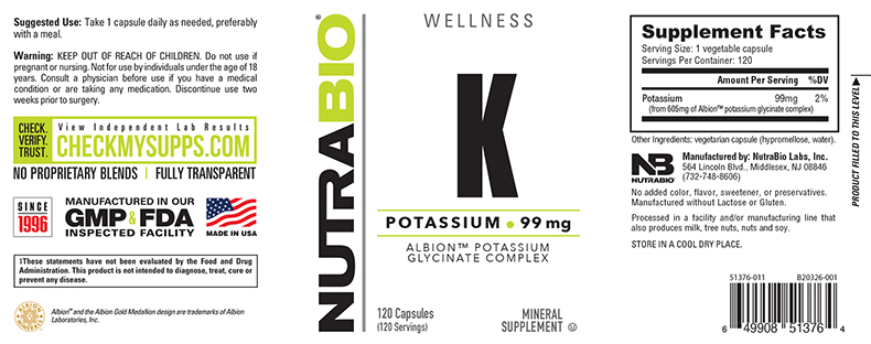 Label Image for NutraBio Potassium Complex 99mg - 120 Vegetable Capsules