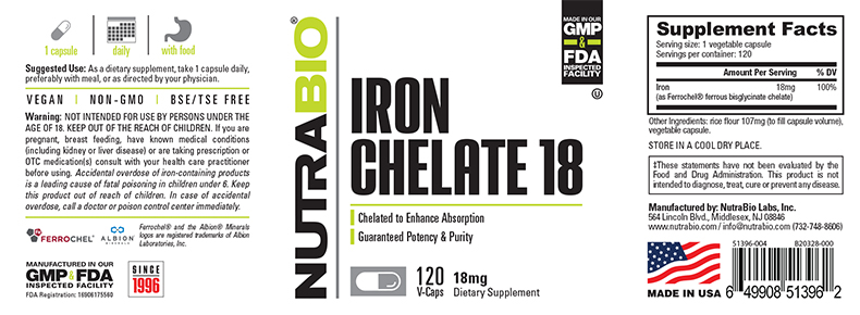 Label Image for NutraBio Chelated Iron 18mg 120 Veggie Caps