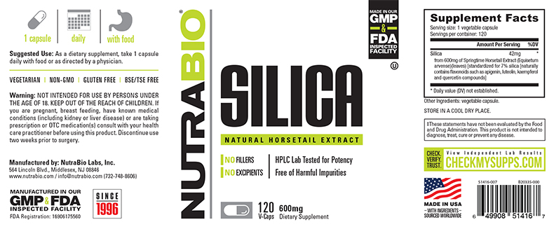 Label Image for NutraBio Silica (Horsetail Extract) (600 mg) - 120 Vegetable Capsules