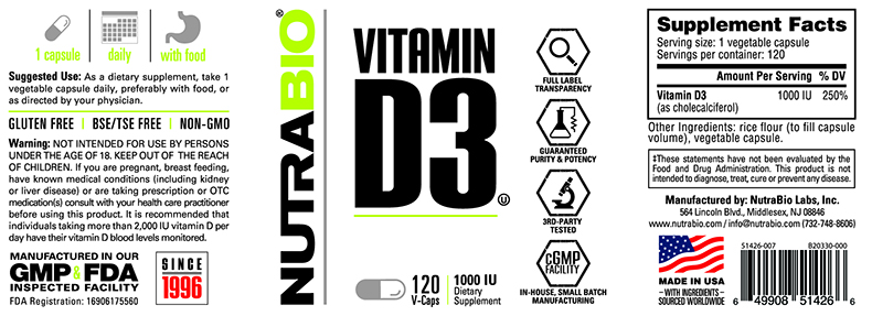Label Image for NutraBio Vitamin D (1000 IU) - 120 Vegetable Capsules