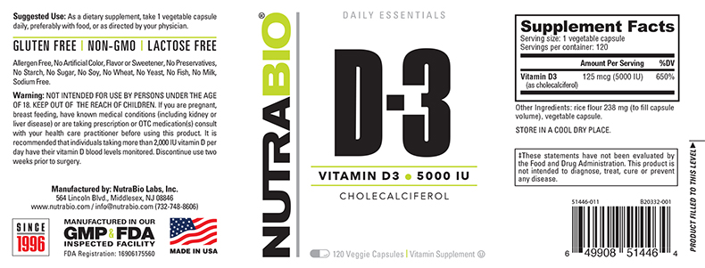 Label Image for NutraBio Vitamin D (5000 IU) - 120 Vegetable Capsules