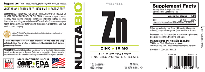 Label Image for NutraBio Chelated Zinc (30mg) - 120 Vegetable Capsules