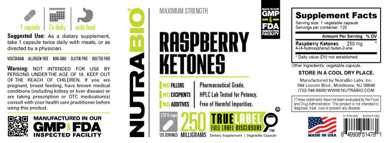 Label Image for Pure Raspberry Ketone (250mg) - 120 Capsules