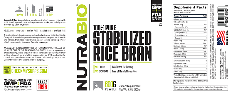 Label Image for NutraBio Stabilized Rice Bran - 600 Grams