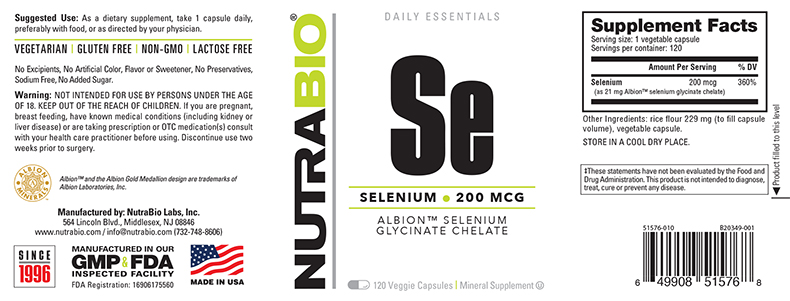 Label Image for NutraBio Selenium (200mcg) - 120 Vegetable Capsules